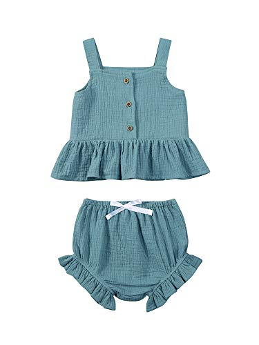 Toddler Baby Girl Summer Clothes Sleeveless Ruffles Button Shirt Tops+Shorts 2pcs Outfit Sets (Blue, 3-4T)