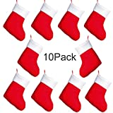 Artiflr Christmas Mini Stockings, 10 Pack 6 inchesRed Xmas Classic Stocking with Plush Cuff, Gift Card Silverware Holders, Small Rustic Red Xmas Tree Decorations Set