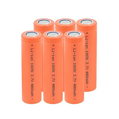 RitzyRose Batería de litio de 3,7 V, 4800 mAh, 18650, baterías recargables para linterna 6 unidades