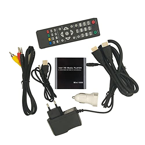 Nirmon Lecteur MultiméDia HD 1080P pour Lecteur MultiméDia de Disque Dur HDD U de Centre de Voiture avec Chargeur de Voiture IR Extender AV/MMC Prise EuropéEnne