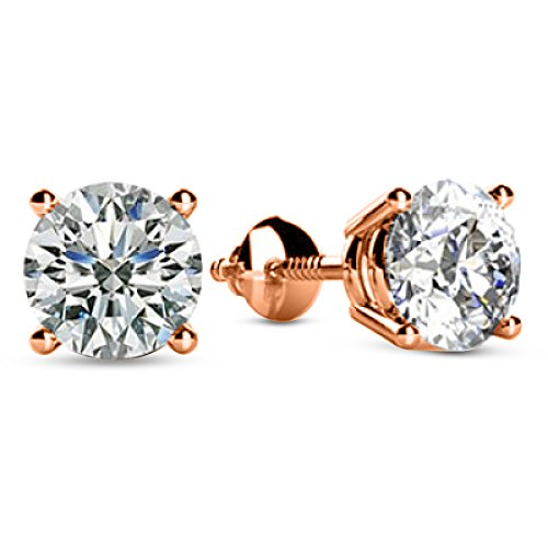 1/4 0.25 Carat Natural Round Brilliant Solitaire Diamond Stud Earrings for Women 14K Rose Gold 4 Prong Screw Back (I-J Color I1 Clarity)