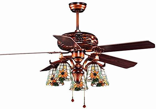 Lámpara de techo con luz decorativa, ventilador norteeuropeo y americano, lámpara de cristal hojas de techo, ventilador de techo, decoración de la decoración única, diseño único lámpara