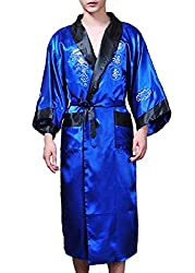 mens silky robes blue