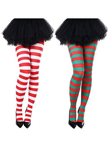 Blulu Christmas Striped Tights Thigh High Socks for Christmas Supplies (Color Set 2)