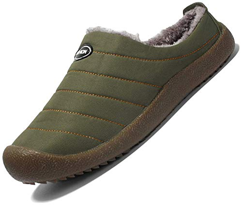 Nzcm Herren Hausschuhe mit Warm Fußbett Winter Pantoffeln Damen Outdoor Slippers Gefüttert Winterschuhe mit rutschfest Gummisohle Grün Gr.42
