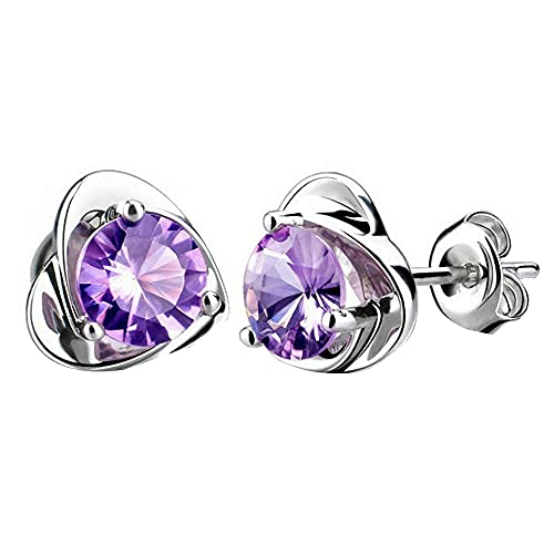 Silver Plated Crystal Rhinestone Earrings for Her, Cubic Zirconia Hypoallergenic Cartilage Stud Earrings Charm Bridal Wedding Jewelry Anniversary Birthday Gift for Women Girls (A)