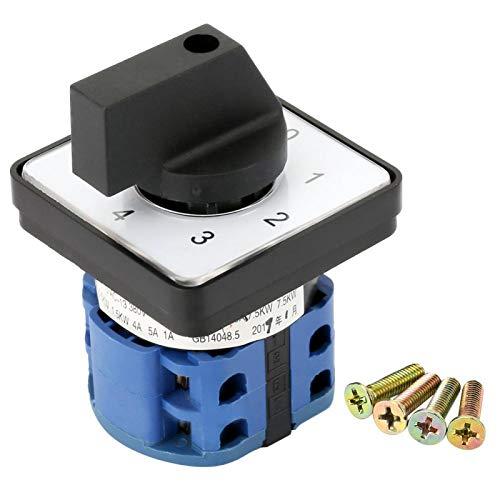 Wilecolly Interruptor de Cambio, 660V 20A Selector Giratorio de 4 Posiciones y 2 Polos Interruptor de Cambio de Leva Giratorio Universal