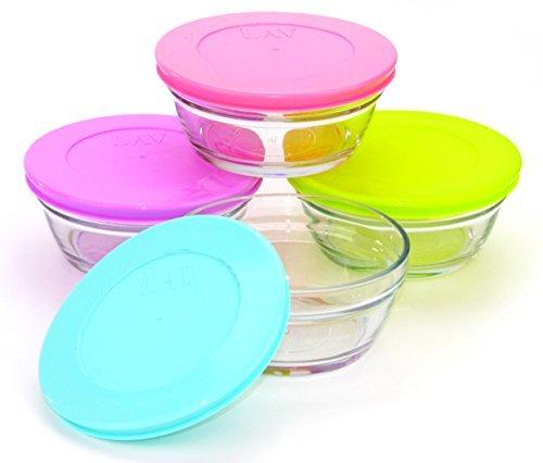 LAV 4 tlg. Master Glasschüssel mit Deckel Frühstück Knabberschale Dessertschale 250 ml