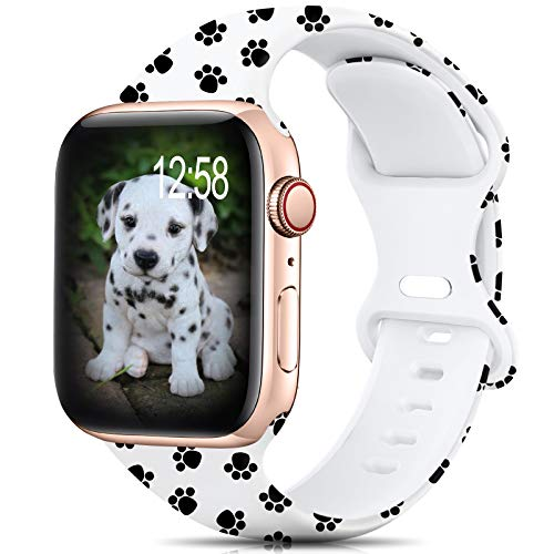 Sport Band Compatible with Apple Watch Bands 38mm 40mm 42mm 44mm Size for Women Men,Floral Silicone Printed Fadeless Pattern Band for iWatch series 6 5 4 3 2 se, Puppy,38MM/40MM S/M