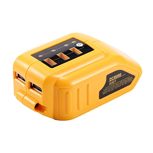 VANON DCB090 USB Adapter Replacement for All Dewalt 10.8V/14.4V/18V Lithium Ion Batteries USB Charger Power Source Addon for Dewalt XR MAX DCB200 DCB201 DCB180 DCB120 Battery