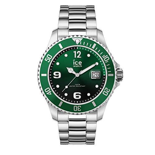 Ice-Watch - ICE steel Green silver - Grüne Herrenuhr mit Metallarmband - 016544 (Medium)
