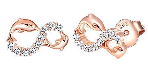 INFINIONLY Pendientes para mujer niña, juegos de joyas de plata esterlina 925, pendientes delfín, Pendientes símbolo infinito, incrustación de zirconia, oro rosa