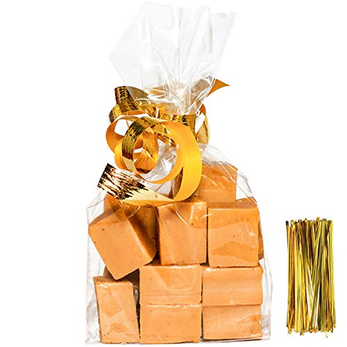 Large Cellophane Treat Bags,12x16 Inches Clear Cello Bags 20 Pcs OPP Plastic Treat Bags with 20 Twist Ties for Gift Baskets,Packaging Bread,Candies,Dessert,Bakery, Cookies, Chocolate,Party Favors