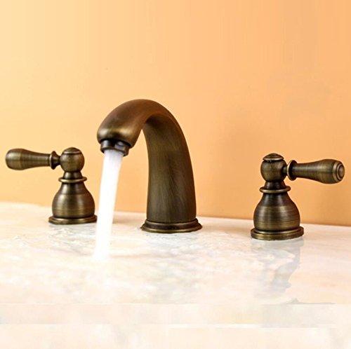 SADASD stile europeo bagno rubinetto lavabo in lega di rame antico tre fori lavandino valvola in ceramica caldo e freddo miscelatore lavabo tre pezzi con G1/2tubo