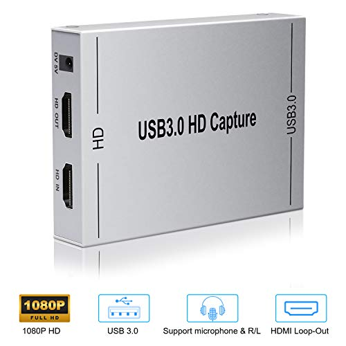 Yuanj HDMI Capture Card USB 3.0 Full HD 1080P 60fps, tragbar Game Video Capture Karte, Plug & Play, Ultra-Low-Latency Technologie, kompatibel für Windows Linux OS X System