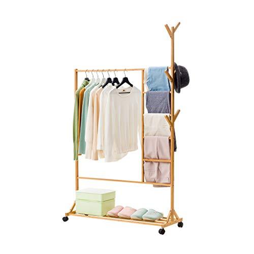 Râteliers multi-usages Manteau Rack vêtements de Sol cintres de Chambre Simple ménage Stockage Stockage étagères en Bois Massif Casiers (Color : Brown, Size : 100 * 35 * 175cm)