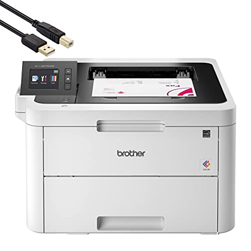"""Brother HL-L3270CDW Compact Wireless Digital Color Laser Printer with NFC for Home Office - Print Only - 2.7"""" Color Touchscreen, Auto Duplex Printing, Speed Up to 25 ppm, 250 Sheet, BROAGE Print Cable"""