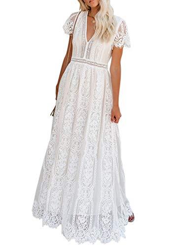 BLENCOT Women's Casual Floral Lace Deep V Neck Short Sleeve Long Evening...