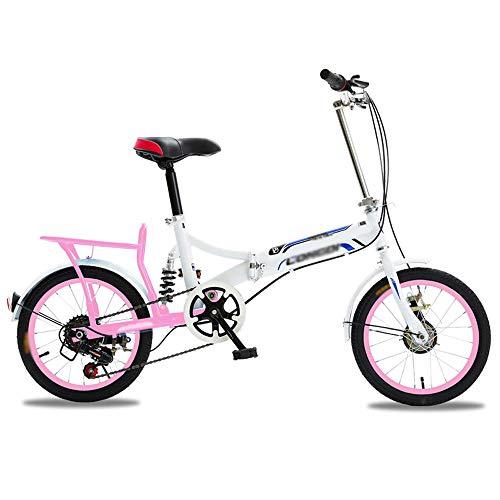 QYCloud Bicicletas de Carretera Low Rider para Adultos, Hombres y Mujeres, Bicicleta Plegable con Freno en V de Acero al Carbono, Bicicletas de cercanías para Peso Ligero,Rosado