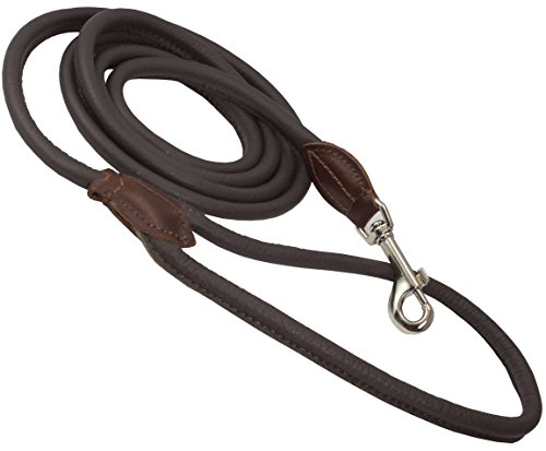 Dogs My Love Round Genuine Rolled Leather Dog Leash (Small: 3/8