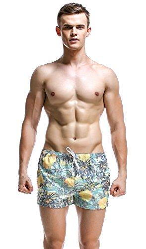 URVIP Badehose für Herren Schnell Trocknend Badeshorts Männer 3D Druck Shorts Schwimmhose Jungen Boardshorts Sport Shorts Surf Beachshorts 61301 Grün Kokosnussbaum L