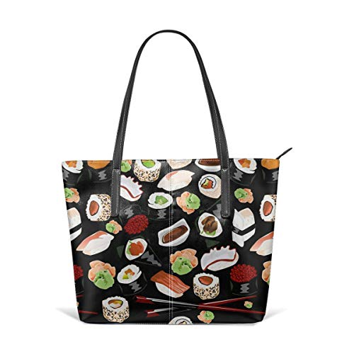 Black Chopsticks Sushi Cute Japanese Best Men Women Leather Tote Bags Satchel Top Handle Cross Body Shoulder Hobo Handbags For Ladies Shopping Bag Office Briefcase