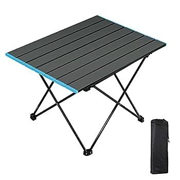 AKOFIC Table de Camping Portable, Table Pliante Légère en Auminium avec Sac de Transport, Table de Camping Pliante pour Pique-Nique Camping Barbecue Plage Pêche Randonnée Barbecue Bateau (Moyen)
