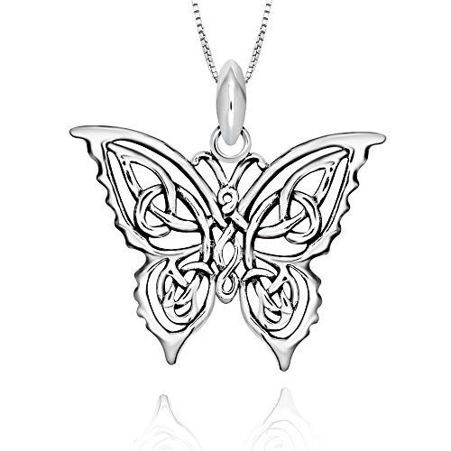 925 Sterling Silver Celtic Butterfly Pendant Pendant Necklace, 18'