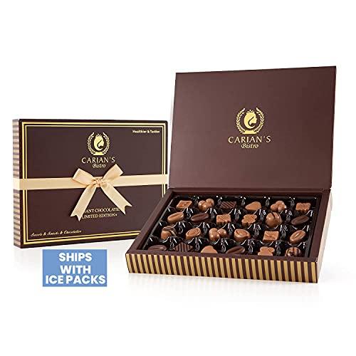 Carian's Sélection de luxe de boîte de chocolat - Cadeau assorti pour les vacances, Noël, anniversaire Cadeaux de petit ami pour femme - Cadeaux de fête - Truffes - 24 pièces, 250g