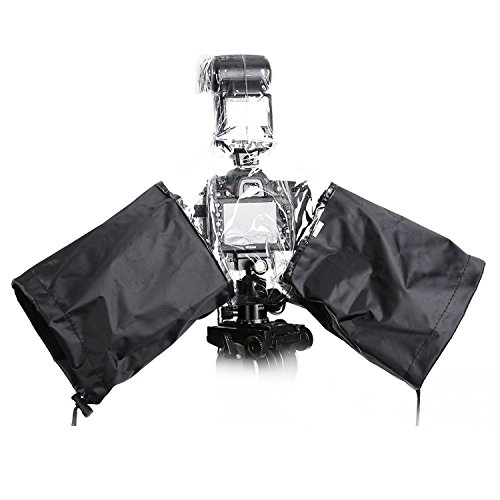Movo CRC02 Waterproof Nylon Rain Cover with Flash Enclosure and Adjustable Hand Sleeves for DSLR Cameras with External Flash