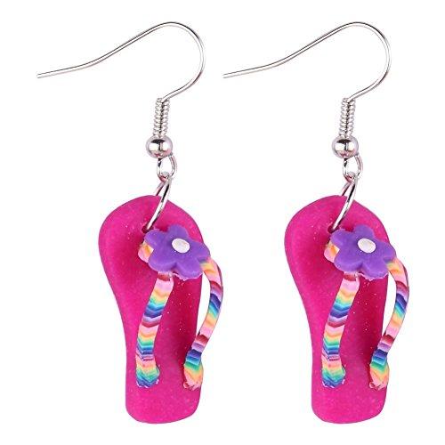 JOE COOL Drop Ohrring Flip Flop mit Blume (Rosa) mit Kunstharz hergestellt