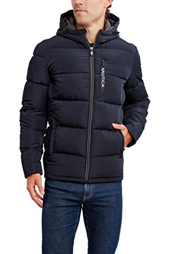 Nautica Men's Hooded Parka Jacket, Water and Wind Resistant, Navy, X-Large