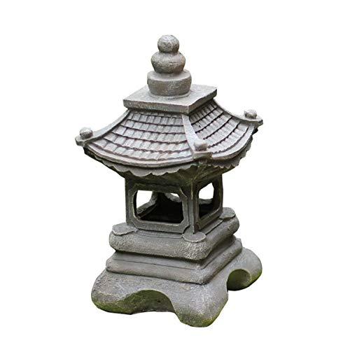 Outdoor Statues AO 13.4 inch Small Pagoda Garden Lantern Solar Light, Japanese Style Outdoor Stupa Statue Zen Art Oriental Lawn Sculpture