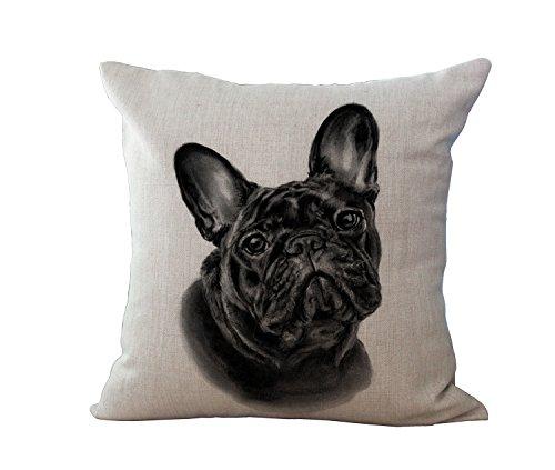 Ogquaton Bonita funda de cojín con diseño de bulldog francés, funda de almohada de algodón y lino, funda de almohada decorativa para sofá, muy práctica y popular