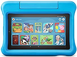 """A full-featured 7"""" tablet, including a blue kid-proof case with kick-stand, parental controls, 2-year worry-free..."""
