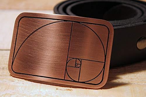 Golden Ratio Spiral Belt Buckle Etched Metal