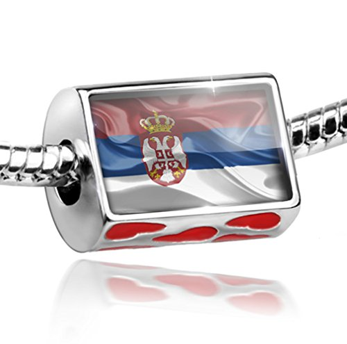 NEONBLOND Bead with Hearts Serbian 3D Flag - Charm Fit All European Bracelets