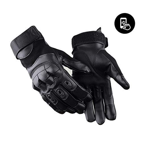 SOLO QUEEN Herren Leder Motorradhandschuhe mit Touchscreen Schwarz XL
