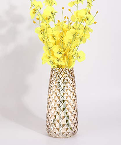 Lewondr Glass Vase, 8.7 Inch Irised Crystal Ins Style Decorative Vase Geometric Pattern Flower Plant Bud Vase Container for Office Home Kitchen, Gift for Wedding Christmas Housewarming - Amber