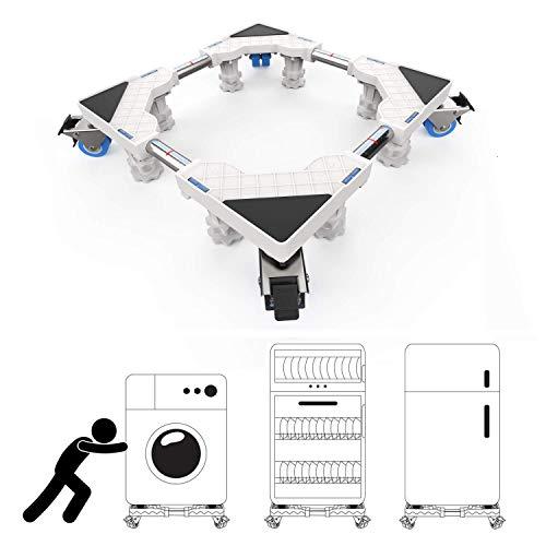 DEWEL Einstellbar Wachmaschinen-Untergestell, 47-74cm Waschmaschinen Untergestell Maschinen Sockel für Kühlschrank Trockner Waschmaschine, Rundrohr mit 8 Füße und 4 Räder