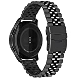 Juntan Compatibile for Samsung Gear S3 Frontier/Gear S3 Classic Galaxy Watch 46mm Tridimensionale Cinturino Acciaio Inossidabile 22mm Smart Watch Bracciale Nero