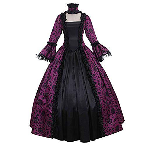 Fnho Disfraz Renacentista Cosplay de Halloween,Vestido Medieval para Halloween,Vestido de Corte Vintage, Vestido Medieval-Violeta_M