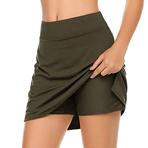 DENGZI - Falda ligera para mujer, para correr, tenis, golf, deporte Armée Vert XXL