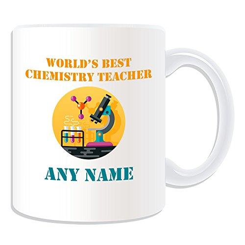 UNIGIFT Gepersonaliseerd geschenk - 's Werelds beste Chemie Leraar/Microscoop Molecule en Test Tubes Mok (Academic Design Thema, wit) - Naam/boodschap op uw unieke - School College University