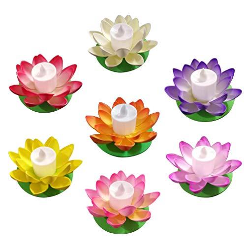 PIXNOR 7 Stücke Teichlicht Lotus Licht LED Kerzen 11.5cm Schwimmende Blumen Lotusblume Künstliche Seerosen Lotusblüte Lotusblatt Teichbeleuchtung Pool Lampe für Teich Garten Deko