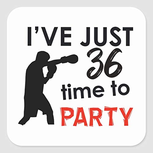 36 Birthday Party Make a Perfect Design Shirt Square Sticker for Envelope Laptop Fridge Guitar Car Motorcycle Helmet Luggage Cases Decor 4 Inch in Width