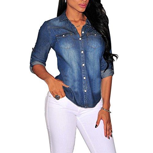 Bold Manner Damen Bluse Deinm Hemdbluse Retro Jeanshemd Langarm Jeansbluse (L, Dunkelblau)