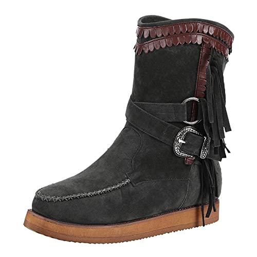 Briskorry Botines de mujer de altura media, color marrón, estilo clásico, retro, botas de invierno, botas Chelsea con tacón plano, comodidad de ante y borla
