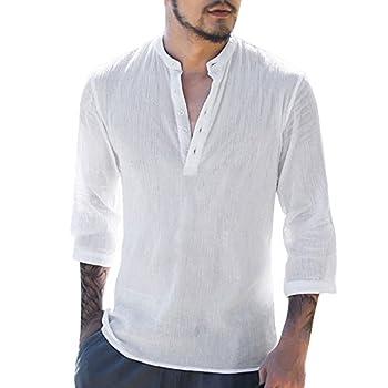 Mens Long Sleeve Henley Shirt Cotton Linen Beach Yoga Loose Fit Henleys Tops White