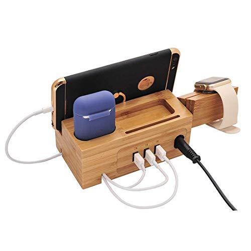 Desqueena Base de administración de la estación de Carga de la estación de Carga del teléfono multifunción con 3 Puertos USB, para Apple Watch, Airpods, iPhone, Enchufe de la UE,StarLightd